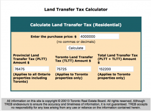 Land Transfer Tax for a $400,000